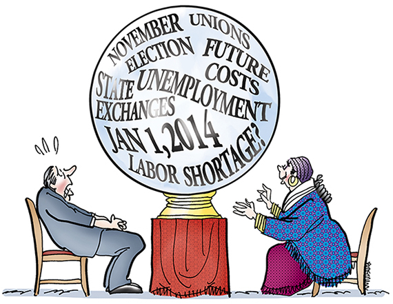 illustration about Obamacare new national healthcare law and its impact on employers with nervous executive and gypsy fortune teller staring into cloudy crystal ball showing factors like labor unions, future costs, unemployment, state exchanges, possible future labor shortage