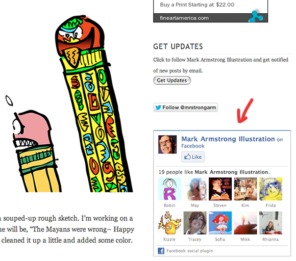 screen shot of Mark Armstrong Illustration WordPress blog showing Fine Art America shop for prints ad, Get Updates button, follow mrstrongarm on Twitter button, and Facebook Like Box widget displaying in blog sidebar