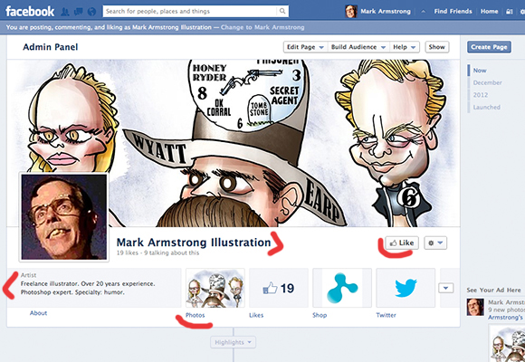 screen shot of Mark Armstrong Illustration Facebook page showing celebrity caricature cover photo, thumbnail for portfolio album, Like button, and Fine Art America shop for prints button