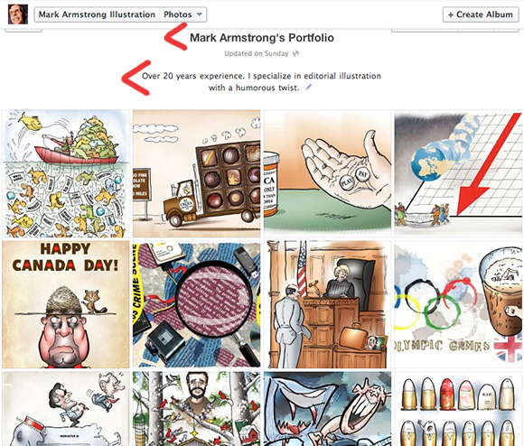 screen shot of Mark Armstrong's Portfolio album on Facebook business page showing thumbnail images of the 20 illustrations in Mark's portfolio with album name and description indicating Mark has over 20 years experience and his specialty is humorous illustration