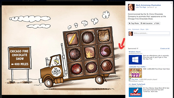 screen shot of Mark Armstrong Illustration Facebook business page showing one of Mark's portfolio illustrations displayed in slideshow mode with image description and some Facebook ads displayed in sidebar