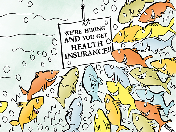 detail image for illustration about Obamacare new national healthcare law and its impact on employers how employers may want to offer health insurance in order to attract better employees and job applicants fish hooks saying we're hiring and sign offering health insurance is attracting large school of fish