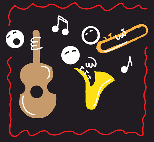 Draw Something image for word JAZZ showing collage of musical instruments, guitar, sax, trombone, musical notes, and singing heads