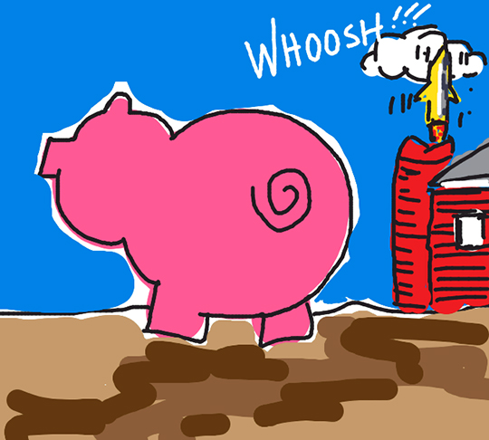 Draw Something image for word PIG showing pig walking across barnyard with barn in background with missile being launched up out of silo