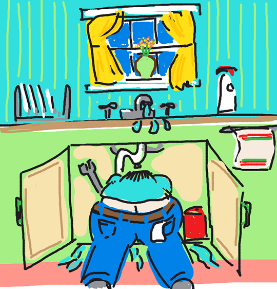 Draw Something image for word PLUMBER showing repairman with tools bent under kitchen sink with his pants riding down exposing his butt crack