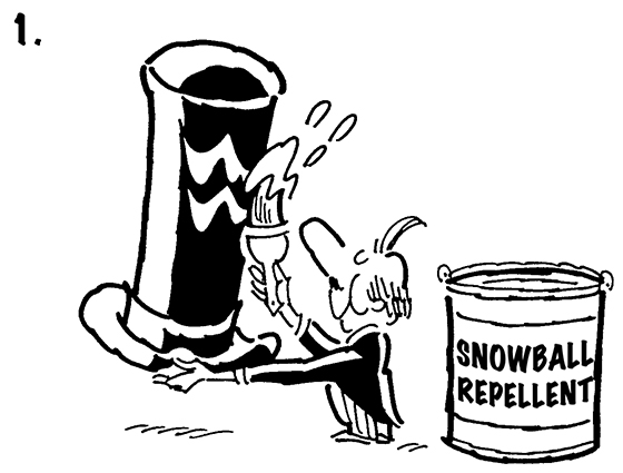 Panel #1 of Four panel B&W gag cartoon showing distinguished gentleman brushing snowball repellent onto his top hat before going for walk, mean little kid tries to knock off hat with snowball but hat repels snowball and it smacks kid in face