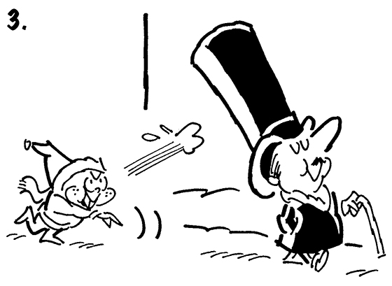 Panel #3 of Four panel B&W gag cartoon showing distinguished gentleman brushing snowball repellent onto his top hat before going for walk, mean little kid tries to knock off hat with snowball but hat repels snowball and it smacks kid in face