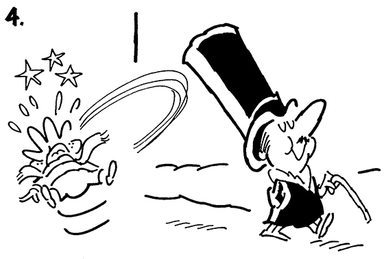 Panel #4 of Four panel B&W gag cartoon showing distinguished gentleman brushing snowball repellent onto his top hat before going for walk, mean little kid tries to knock off hat with snowball but hat repels snowball and it smacks kid in face