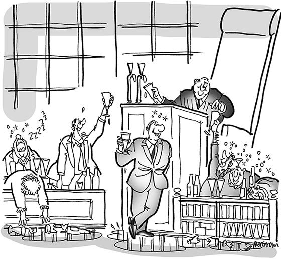 cartoon illustration for strange lawsuit involving prison inmates who are suing beer and liquor companies because failed to warn inmates that alcohol was addictive which led them to poor choices and life of crime; judge dispensing beer from bench, inmates, lawyer, and jury all drinking excessively