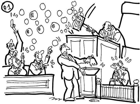 cartoon illustration for strange lawsuit American Apparel store manager sued company CEO for verbally abusing him and shoving dirt in his face; lawyer offering wash basin and towel to witness with dirty face and clothes; judge banging gavel that is bar of soap; jury members popping resulting soap bubbles