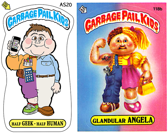 compare between tee shirt art Garbage Pail Kid design half-geek, half-human and original Garbage Pail Kid trading card Glandular Angela showing kid who is half-girl, half-boy