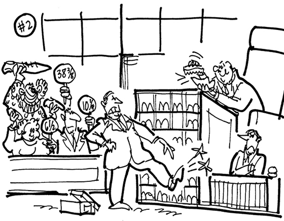 cartoon illustration for strange lawsuit shoe designer Charles Philip sued Gap for selling cheap knockoff of his trademark luxury loafers; lawyers pointing to shoe which is hurting his foot; judge shining his shoes; jury holding up shoes with shoe size signs; clown holding up long shoe with size 38