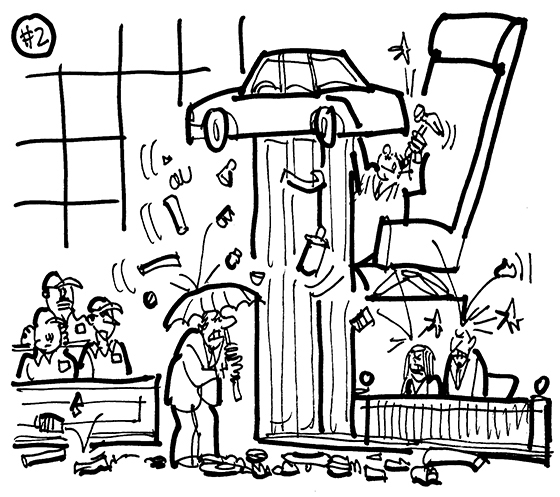 cartoon illustration for strange lawsuit involving couple suing Ford Motor Company because replacement for defective car was unsatisfactory; judge's bench serving as hydraulic lift, judge working on car like mechanic, auto parts raining down on lawyer and witnesses, jury members dressed as auto mechanics