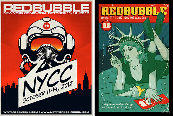 first prize and second prize winners in RedBubble poster design contest for 2012 New York Comic Con comics and pop culture convention