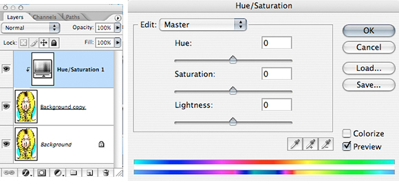 Photoshop Layers Window showing background copy duplicated original and Hue Saturation adjustment layer also Hue Saturation window with sliders