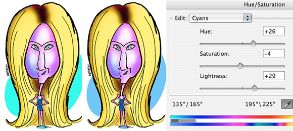 Jennifer Aniston caricature before and after adjusting Cyans using Hue Saturation adjustment layer in Photoshop