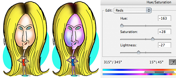 Jennifer Aniston caricature before and after adjusting Reds in Photoshop using Hue Saturation adjustment layer