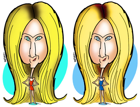 Before and after comparison of Jennifer Aniston caricatures after applying Hue Saturation color adjustment and a mask in Photoshop