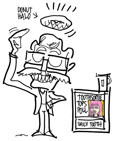 "Mac Giggles with donut halo standing next to Daily Tooth newspaper vending machine with headline ""Toothsome Tops Poll"" for All About Lemon blog art game"