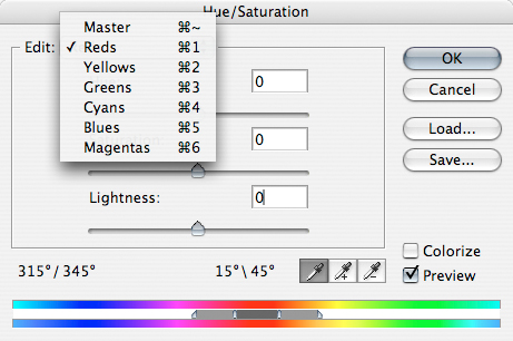 Photoshop Hue Saturation Window with sliders and drop down menu displaying individual color channels which can be adjusted