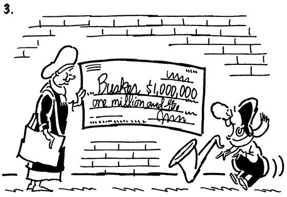 Busker comic strip panel 3, woman presents check for $1 million dollars to saxophone-playing street musician