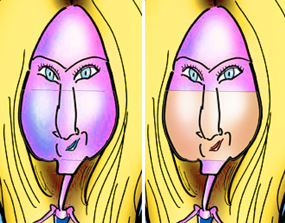 Jennifer Aniston caricature compare showing area selected by Photoshop Pen tool to be masked and result after filling that area with black and masking it out