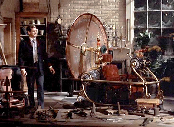 still from 1960 George Pal movie The Time Machine based on H.G. Wells' famous novel, scene star Rod Taylor as George the Time Traveler looking at the finished time machine in his laboratory