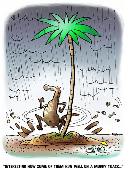 cartoon inspired by Kentucky Derby horse on desert isle running around palm tree in rain splashing mud, fish observing that some horses run well on muddy track