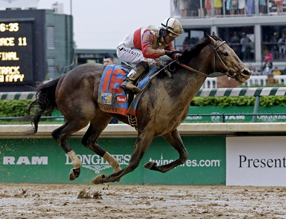 racehorse Orb and jockey galloping on muddy sloppy track splattered with mud as they win 2013 Kentucky Derby horse race