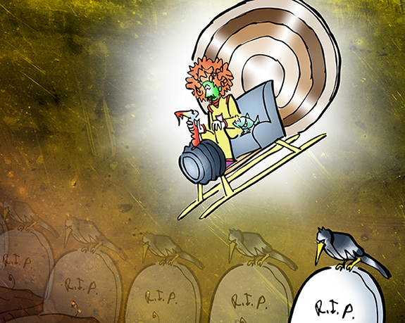 detail image from Moe Gizmo time traveler using turkey time machine to travel thru time, sees baby in cradle with yellow bird morphing into R.I.P. grave with dead flowers in pot and crow brooding on top of headstone