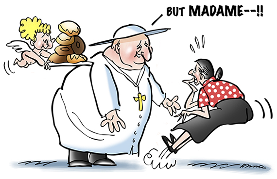 Cartoon about Catholic Pope John XXIII who was fat showing him speaking to woman and telling her papal election is not a beauty contest with angel cherub hovering nearby with tray of donuts