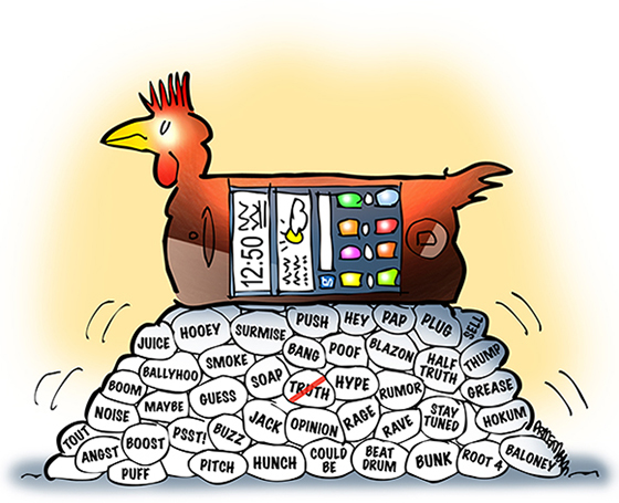 cell phone as chicken laying Twitter and social media eggs fostering rumor gossip opinion sound bites but not truth