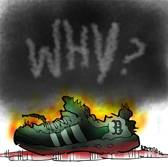 Boston Marathon bombing running shoe with word Why hand drawn in cloud of black smoke