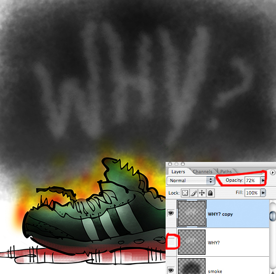 Boston Marathon bombing running shoe with Layers Window showing revised word Why in black smoke