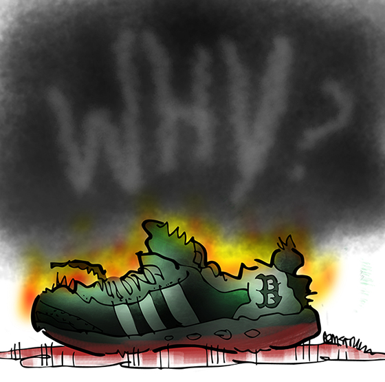 Boston Marathon bombing running shoe after word Why scaled up and blurred with reduced opacity