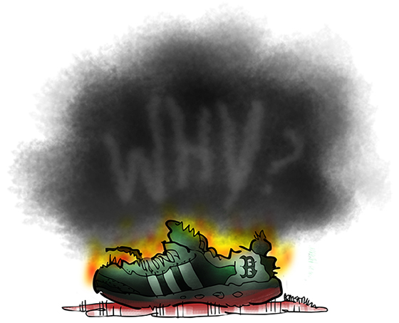 illustration about terrorism and Boston Marathon bombing charred running show burning in pool of blood tiny flames with word Why in cloud of black smoke