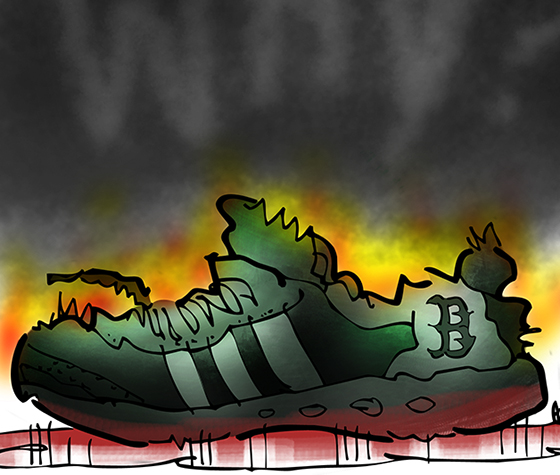 detail of illustration about terrorism and Boston Marathon bombing charred running show burning in pool of blood tiny flames with word Why in cloud of black smoke