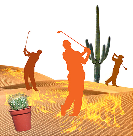 first stage of photo-illustration titled Got Hydration? showing three silhouette golfers melting in desert on flaming burning sand surrounding by cactus, wicked witch hat puddle, and rusty water pump, being watched by giant buzzard or vulture