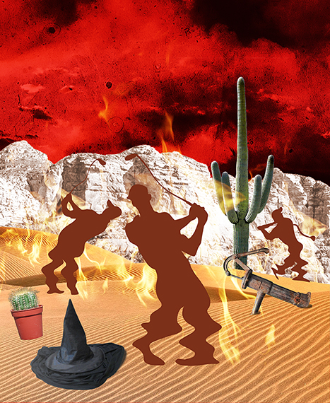 second stage of photo-illustration titled Got Hydration? showing three silhouette golfers melting in desert on flaming burning sand surrounding by cactus, wicked witch hat puddle, and rusty water pump, being watched by giant buzzard or vulture