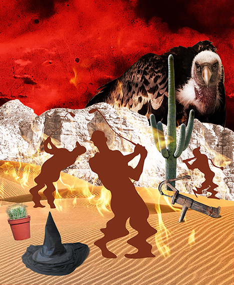 third stage of photo-illustration titled Got Hydration? showing three silhouette golfers melting in desert on flaming burning sand surrounding by cactus, wicked witch hat puddle, and rusty water pump, being watched by giant buzzard or vulture