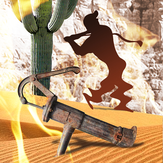 water pump detail from photo-illustration titled Got Hydration? showing three silhouette golfers melting in desert on flaming burning sand surrounding by cactus, wicked witch hat puddle, and rusty water pump, being watched by giant buzzard or vulture