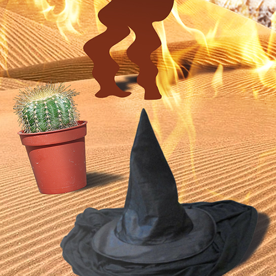 witch's hat puddle detail from photo-illustration titled Got Hydration? showing three silhouette golfers melting in desert on flaming burning sand surrounding by cactus, wicked witch hat puddle, and rusty water pump, being watched by giant buzzard or vulture