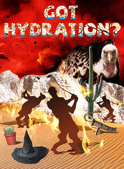 photo-illustration titled Got Hydration? showing three silhouette golfers melting in desert on flaming burning sand surrounding by cactus, wicked witch hat puddle, and rusty water pump, being watched by giant buzzard or vulture