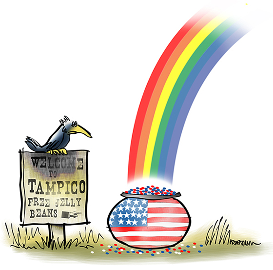 illustration for essay on Americana and Ronald Reagan showing crow sitting on Welcome To Tampico Illinois sign with rainbow falling on kettle full of red white blue jelly beans with American flag painted on it