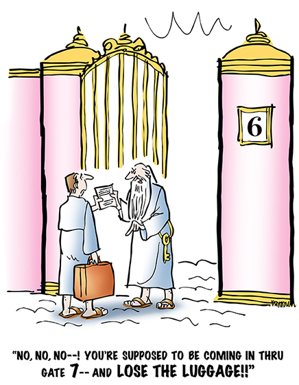 Christian man with suitcase has died and gone to heaven, meeting St. Peter at Pearly Gates as described in bible in Book of Revelation which states heaven has 12 gates made of pearl