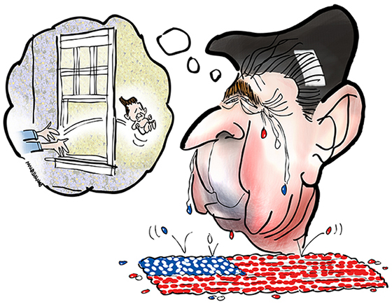 illustration for essay on Americana and Ronald Reagan showing Reagan as baby being passed thru apartment window and caricature of adult Reagan crying nostalgic jelly bean tears with beans falling into shape of American flag