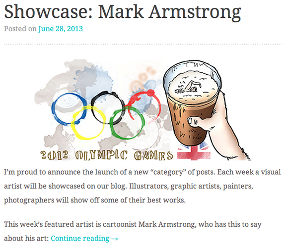 Mark Armstrong beer glass Olympic rings illustration and showcase image from irevuo site posted by Cristian Mihai