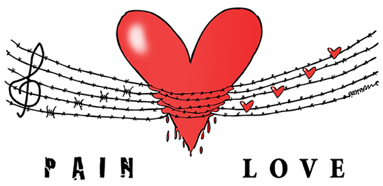 barbed wire music staff with notes squeezing heart, pain being transformed into love, barbs into tiny love hearts, representing courage of elderly caregivers