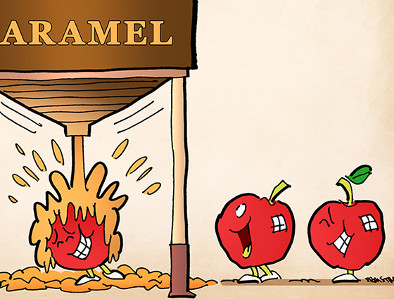 promotional piece for st croix chocolate company, apples walking thru caramel dispensing station, getting dunked with caramel