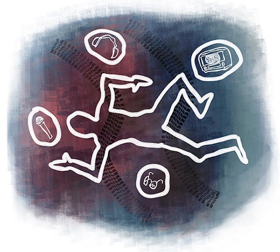 auto accident scene chalk outline of dead body with tire tracks, nearby objects microphone, headphones, radio, eyeglasses